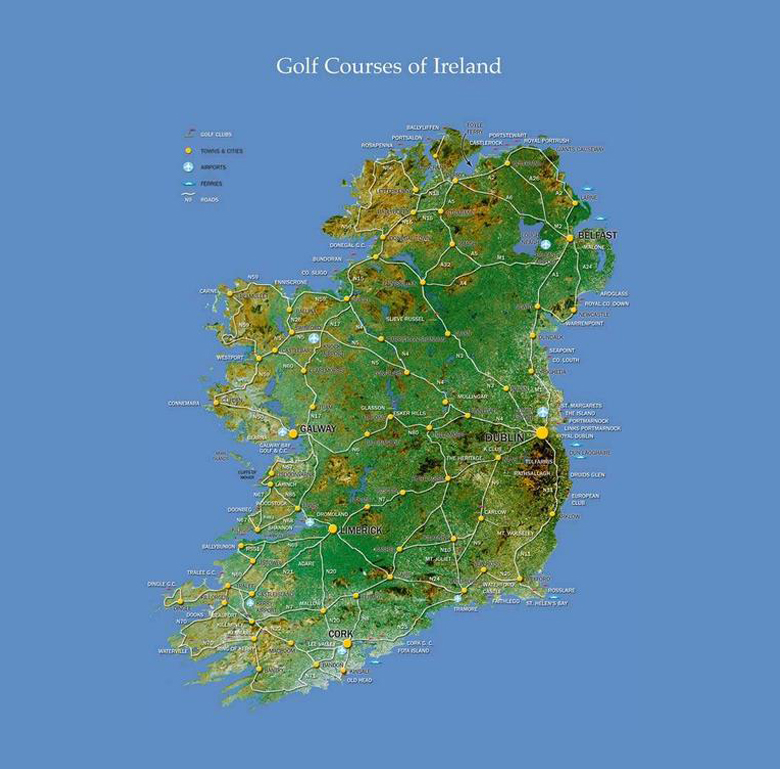 The Best Golf Course In Ireland Can Be Viewed Here Map To Right Shows Where Seaside Links Courses Found